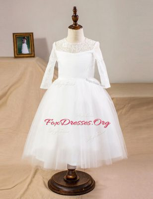 Best Scoop Half Sleeves Clasp Handle Floor Length Lace Flower Girl Dresses