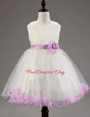 Unique White and Lavender A-line Beading and Hand Made Flower Flower Girl Dress Zipper Tulle Sleeveless Knee Length