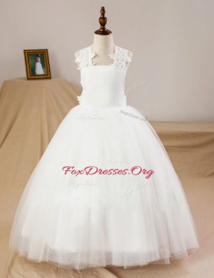 Sleeveless Criss Cross Floor Length Lace and Appliques Flower Girl Dress