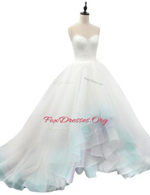 Multi-color A-line Organza Sweetheart Sleeveless Beading and Appliques High Low Lace Up Wedding Dress