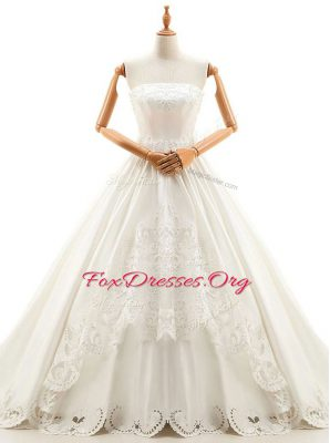 Excellent With Train Lace Up Wedding Gown White for Wedding Party with Appliques Cathedral Train