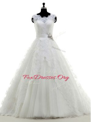 Scoop Lace With Train A-line Sleeveless White Wedding Dress Brush Train Clasp Handle
