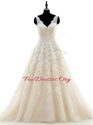 Wonderful With Train Champagne Wedding Dresses Organza Brush Train Sleeveless Lace and Appliques