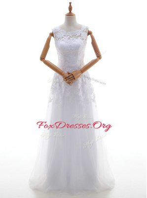 White Scoop Lace Up Lace and Appliques Wedding Dresses Brush Train Sleeveless