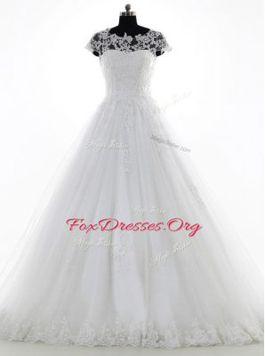 Colorful Scoop Lace and Appliques Wedding Gown White Clasp Handle Short Sleeves With Brush Train