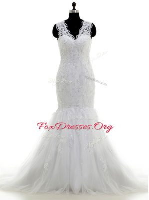 Gorgeous Mermaid Sleeveless Tulle With Brush Train Clasp Handle Wedding Gowns in White with Beading and Lace and Appliques
