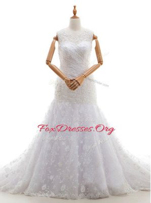Edgy White Scoop Zipper Lace and Ruching Bridal Gown Court Train Sleeveless
