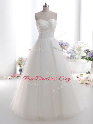 Suitable White Lace Up Wedding Gowns Ruching Sleeveless Floor Length