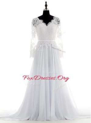 Chiffon V-neck Long Sleeves Brush Train Backless Lace Wedding Gown in White