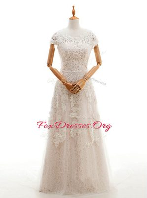 Spectacular Scoop Cap Sleeves Court Train Clasp Handle With Train Appliques Bridal Gown