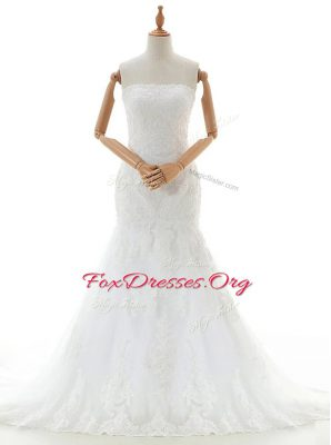 Fitting Mermaid White Wedding Gown Wedding Party and For with Lace and Appliques Strapless Sleeveless Brush Train Clasp Handle