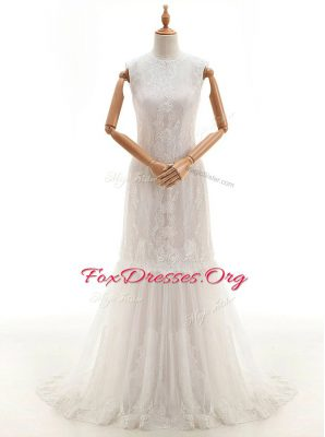 Perfect Lace High-neck Sleeveless Brush Train Clasp Handle Lace Wedding Gowns in White
