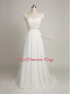 Inexpensive Scoop White Empire Lace Wedding Gown Backless Tulle Sleeveless With Train