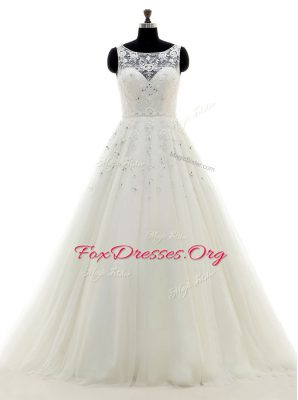 Delicate Scoop White Sleeveless Brush Train Beading and Lace and Appliques With Train Wedding Gown