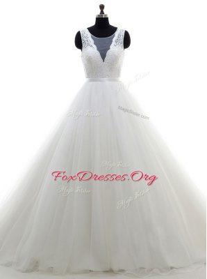 Scoop Sleeveless Brush Train Lace Clasp Handle Wedding Gowns