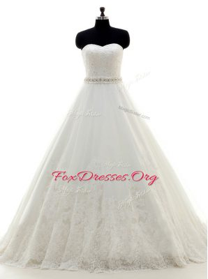 Hot Sale Sweetheart Sleeveless Wedding Gowns With Brush Train Beading and Lace White Lace