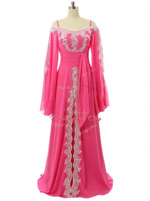 Hot Pink A-line Spaghetti Straps Long Sleeves Chiffon Sweep Train Zipper Lace and Sequins Homecoming Dress
