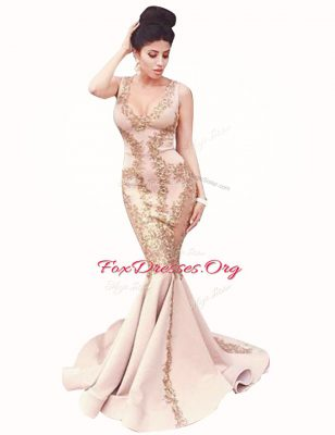 Mermaid Peach Satin Zipper Scoop Sleeveless With Train Evening Wear Brush Train Beading
