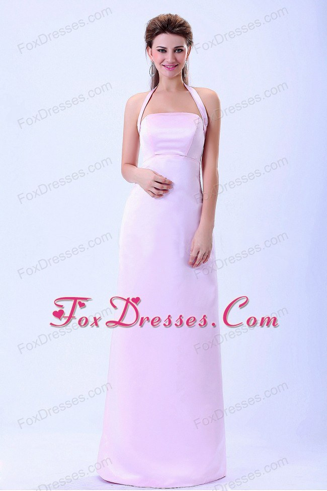 Halter Baby Pink 2013 Bridemaid Dress Floor-length
