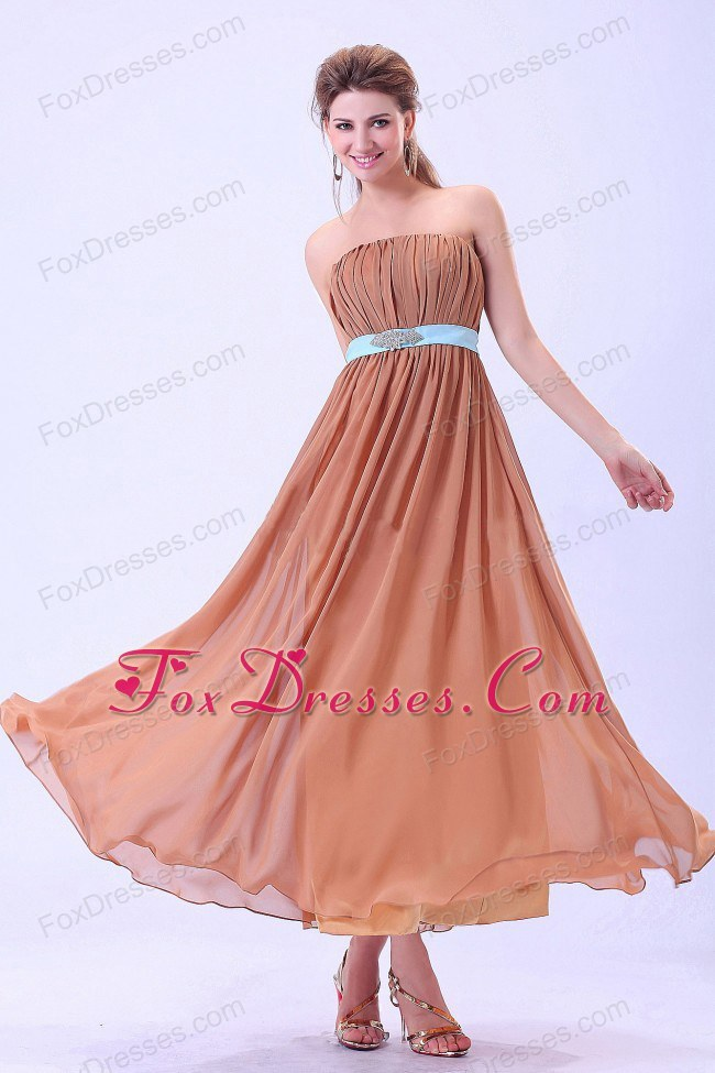Custom Made Rust Red Bridesmaid Dress with Blue Belt and Ruches