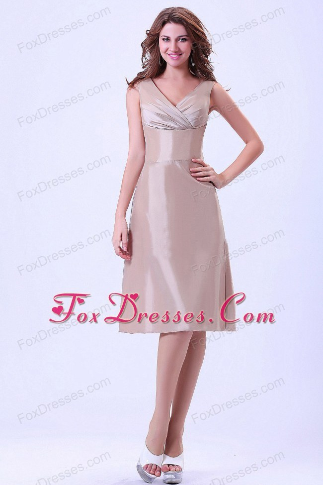 Champagne V-neck Bridesmaid Homecoming Dress Knee-length