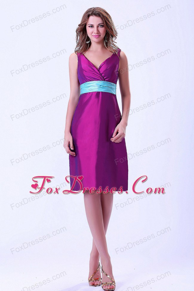 Purple V-neck Bridesmaid Homecoming Dress with Blue Belt