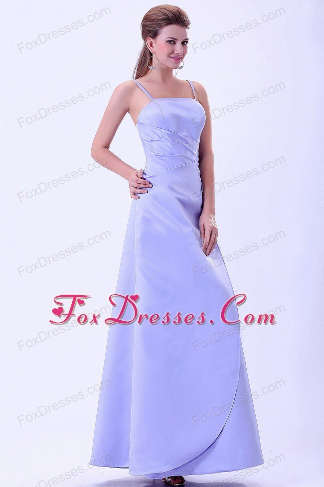 A-line Lilac Floor-length Bridemaid Dress with Spaghetti Straps