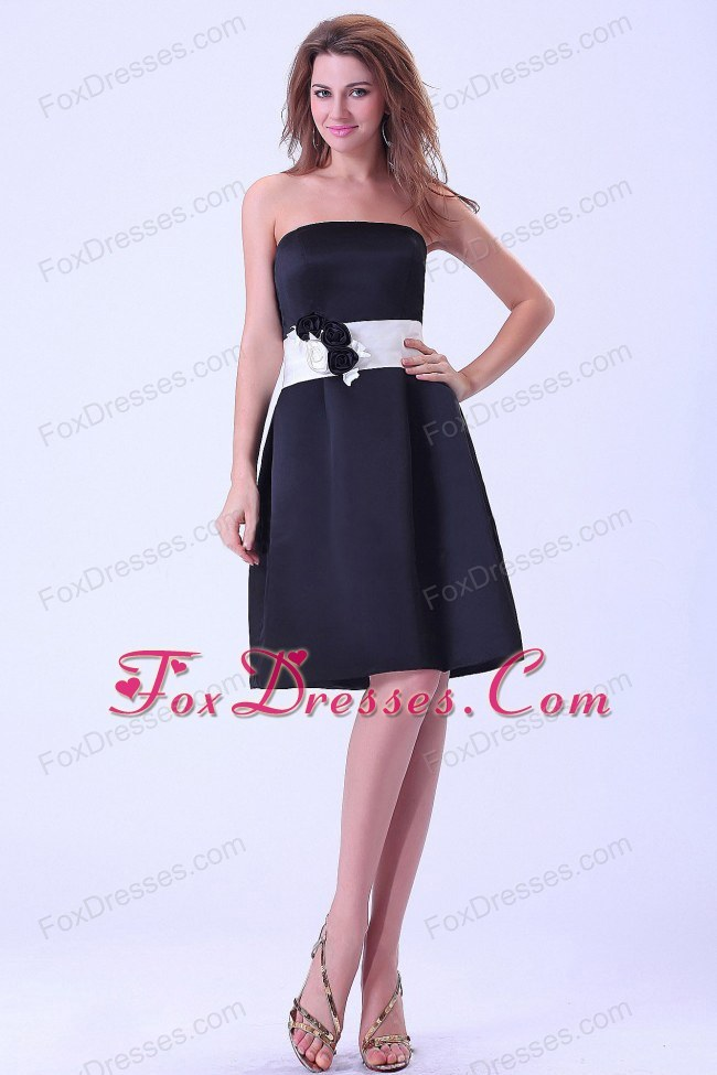 Black Bridemaid Dress with White Belt and