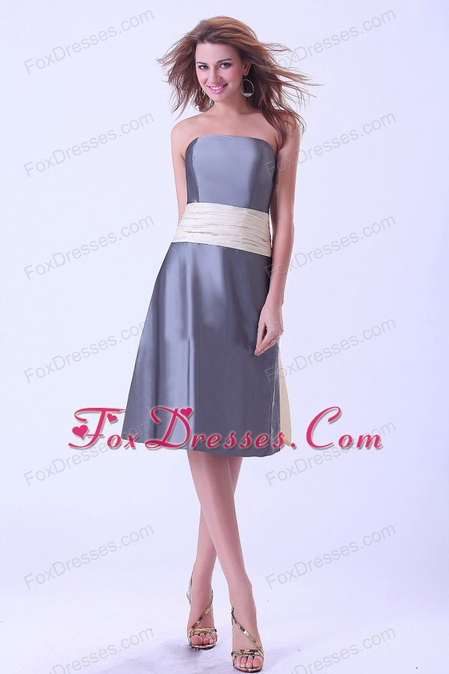 Strapless Grey Bridemaid Dress with Champagne Sash