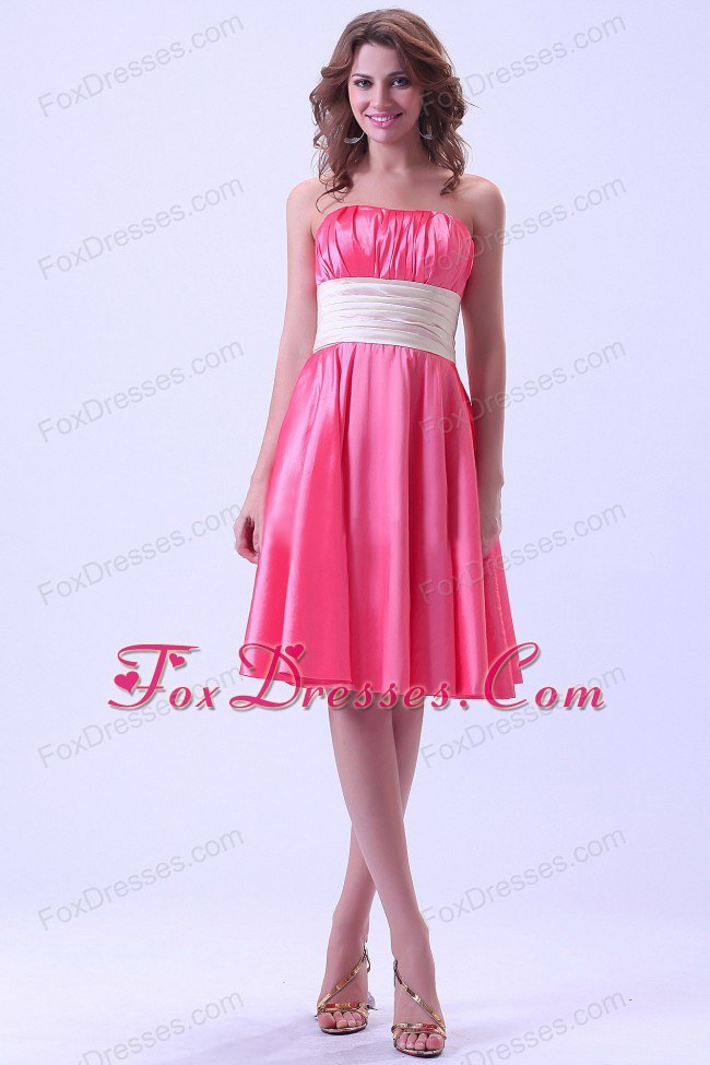 Custom Made Hot Pink Bridesmaid Dress with Ruching