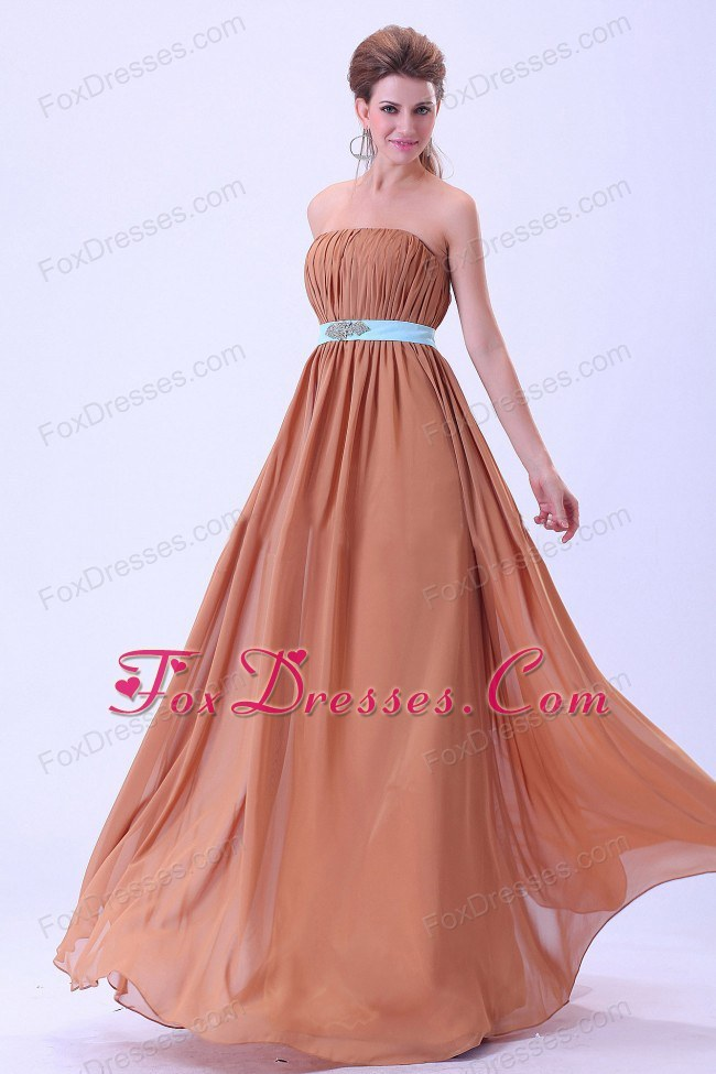 Rust Red Bridesmaid Dress with Blue Belt and Ruches