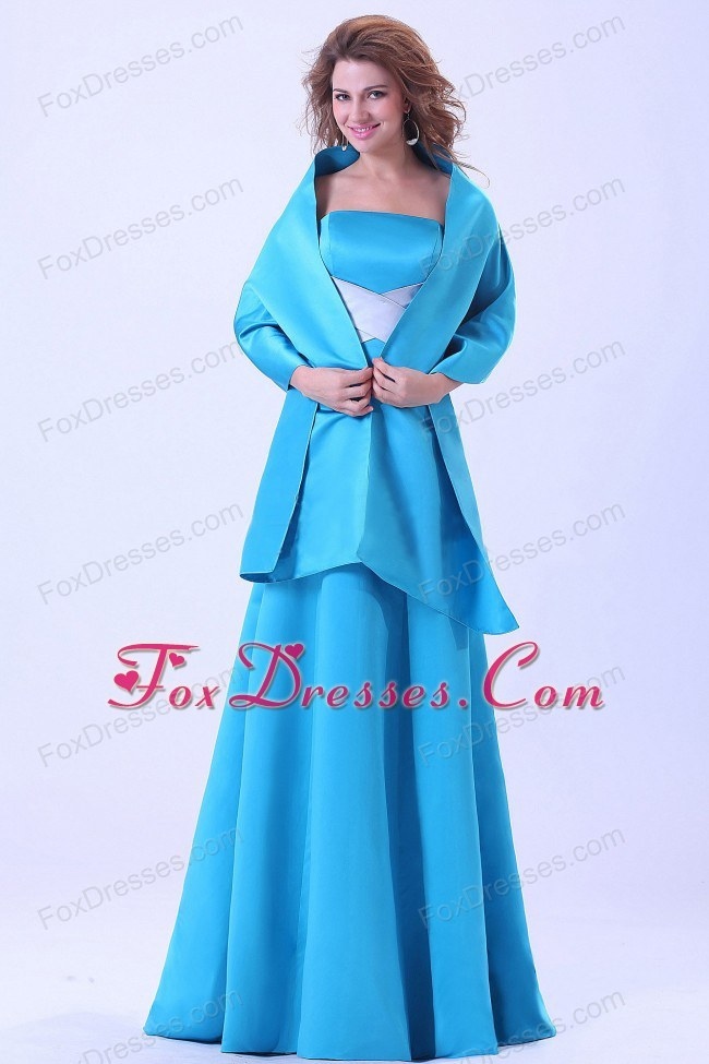 A-line Blue Mother Of The Bride Dress with Brush Train