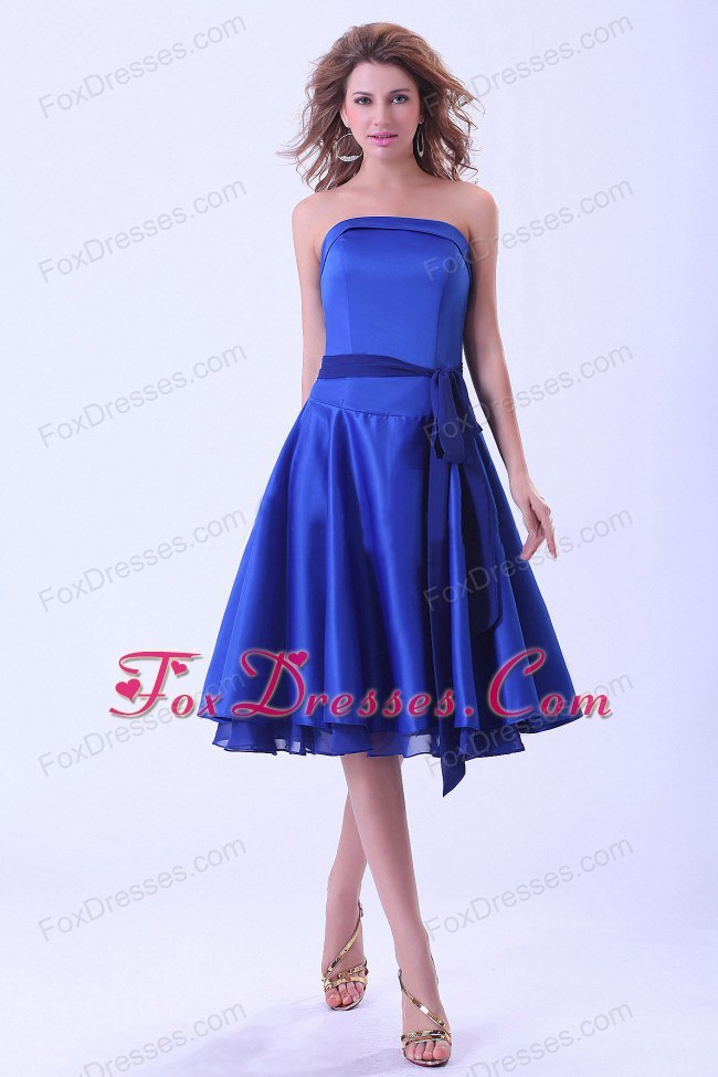 Tea-length Royal Blue Bridemaid Dress with Sash