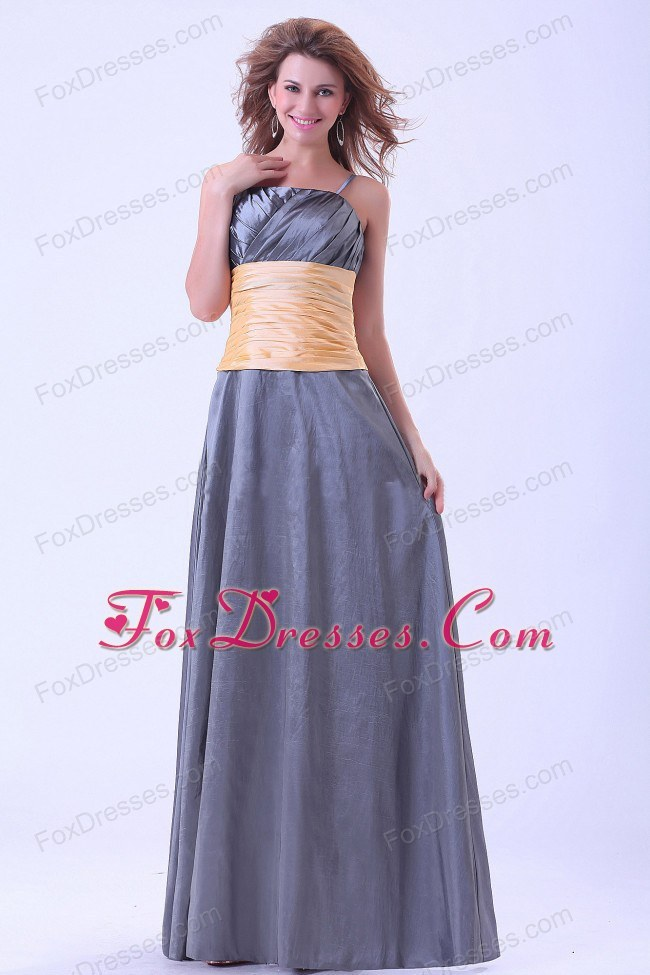 Dark Grey with Sash Bridesmaid Dress Spaghetti Straps