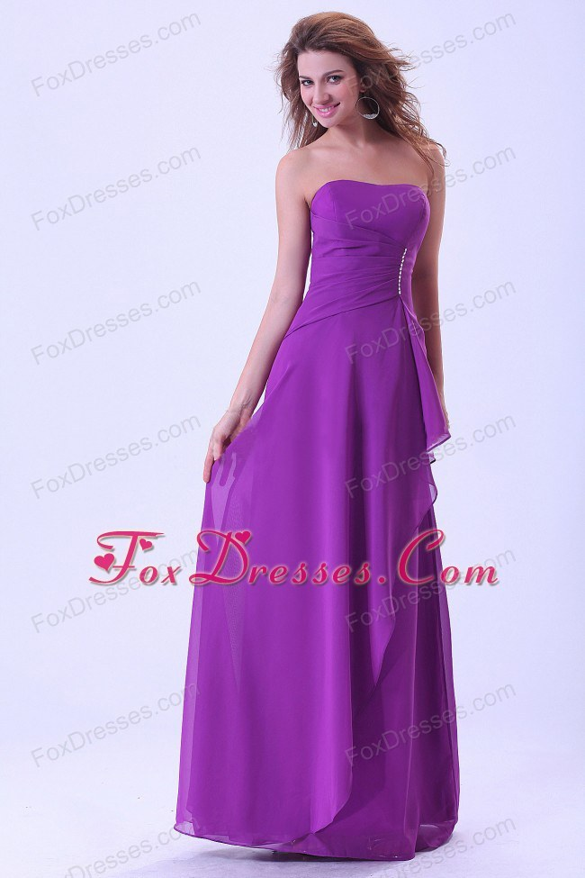 Purple Floor-length Bridemaid Dress with Layer Chiffon