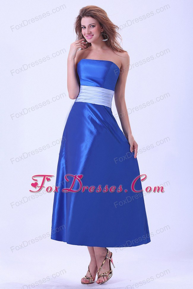 Bridemaid Dress With Sash in Royal Blue Taffeta