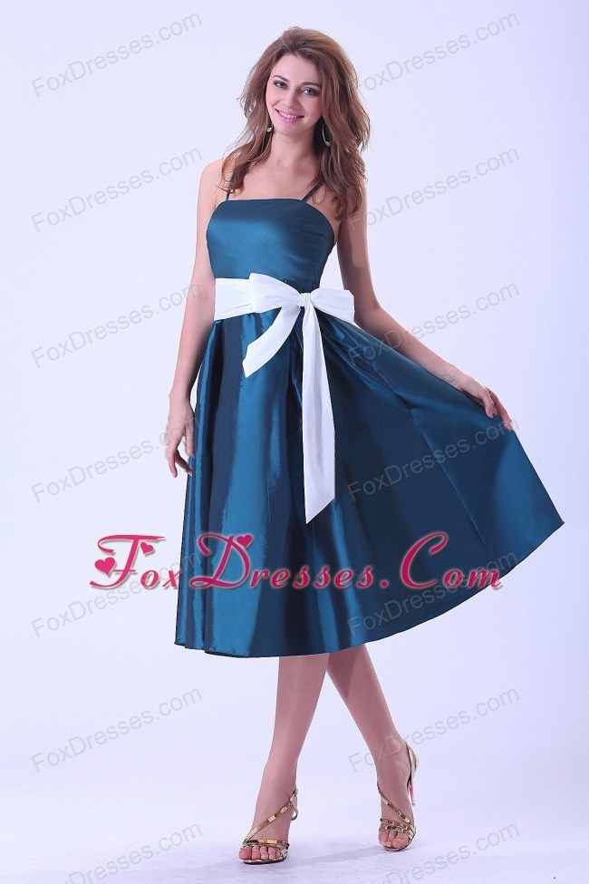 Bowknot Spaghetti Straps Taffeta Bridesmaid Dress