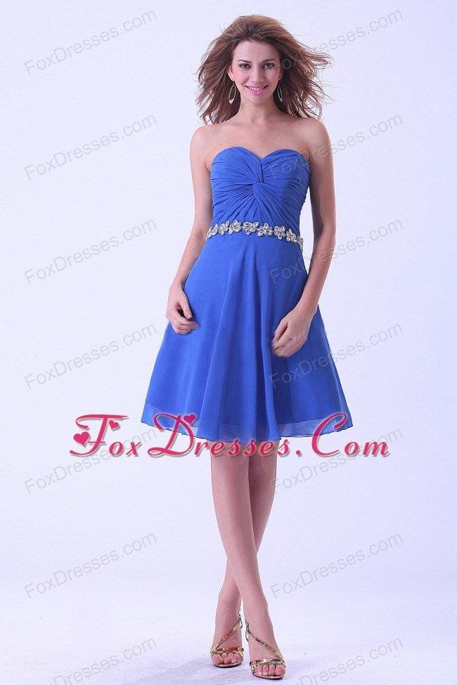 Royal Blue Ruched Short Homecoming Dress With Beadings