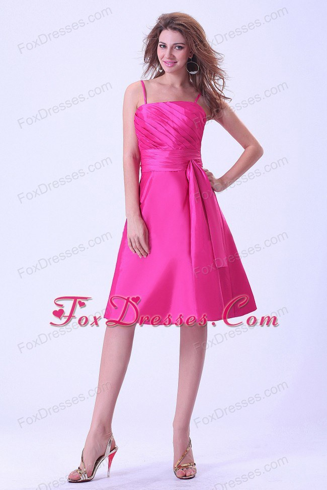 Spaghetti Straps Hot Pink Bridemaid Dress with Pleats