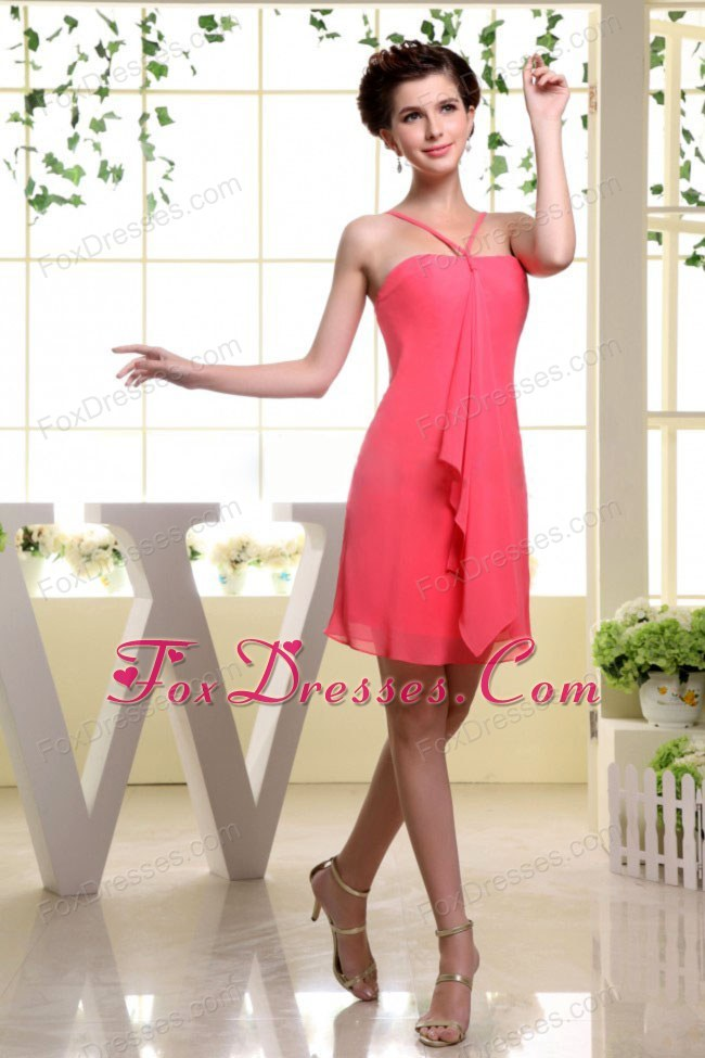 Mini-length Chiffon Coral Red Bridesmaid Dress 2013
