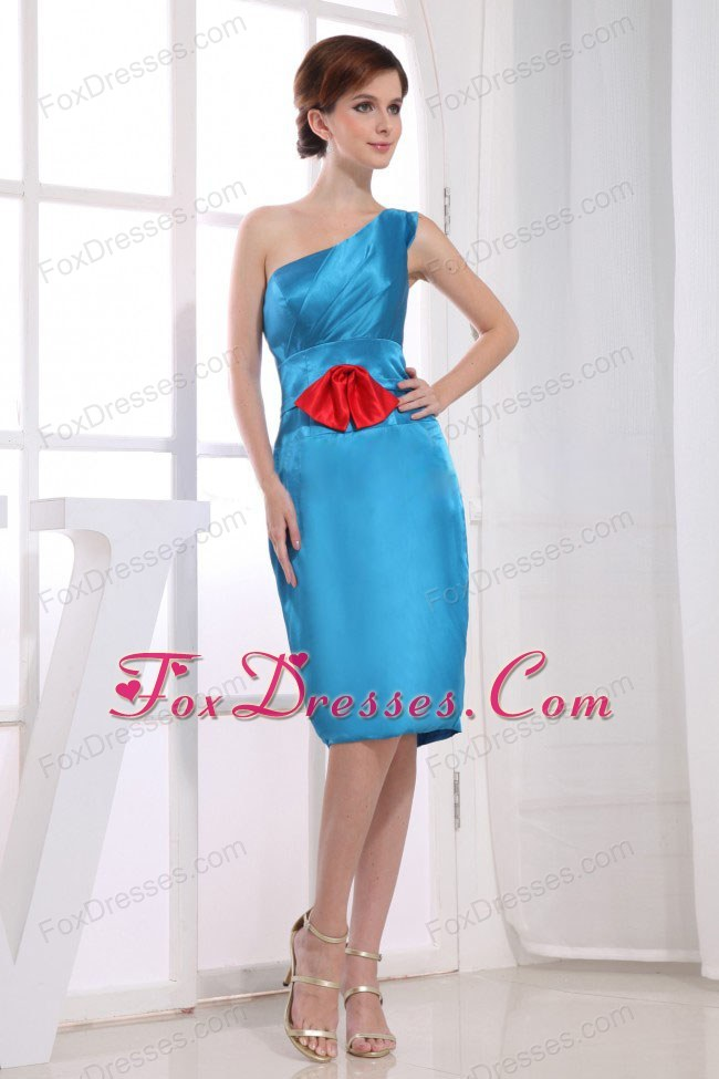 One Shoulder Knee-length Bridesmaid Dress in Teal