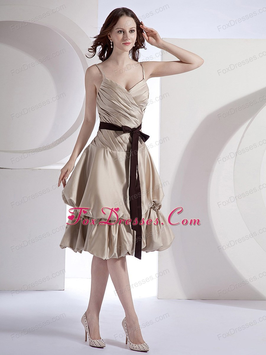 Bridesmaid Dress with Spaghetti Straps Champagne