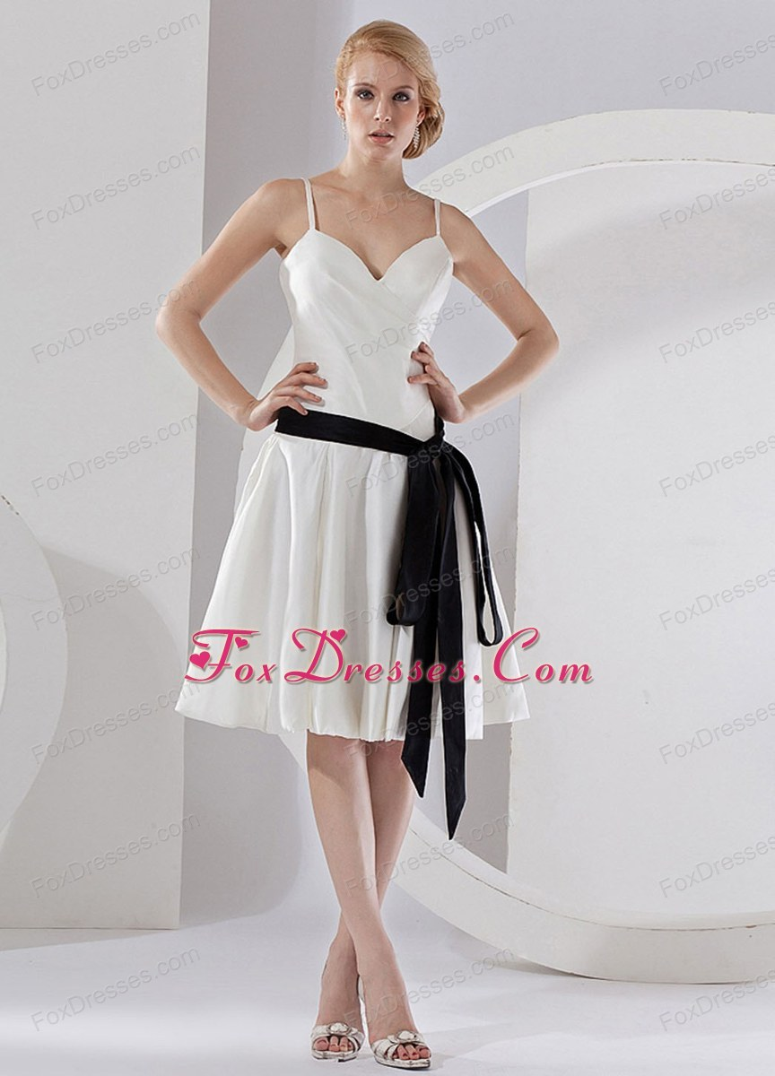 Bridesmaid Dress with Black Sash Spaghetti Straps