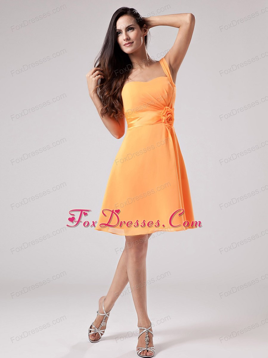 Handle flowers Orange Bridesmaid Dress One Shoulder