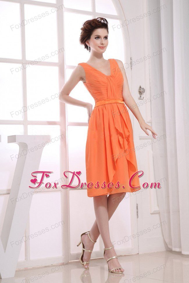 Bridesmaid Dress 2013 V-neck Orange Ruching