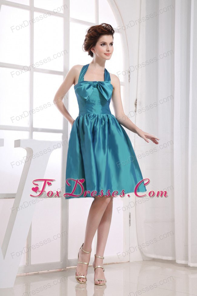 Teal Bow Halter Knee-length Maid of Honor Dress