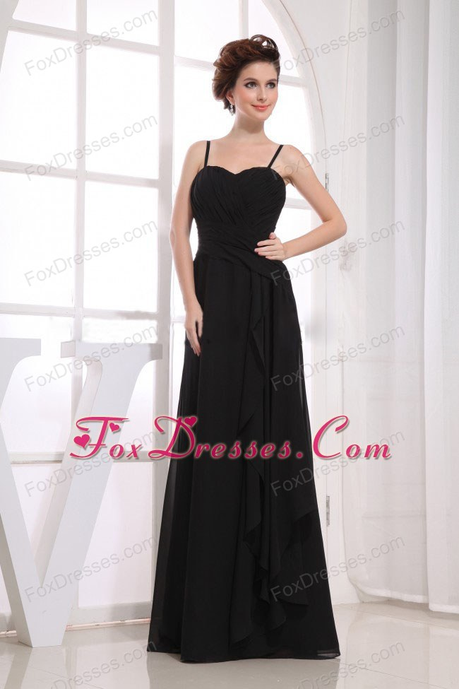 Junior Bridesmaid Dress With Spaghetti Straps in Black