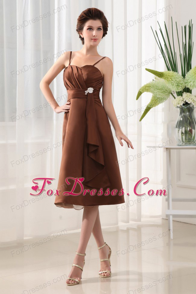 Beading Bridesmaids Dresses A-Line in Brown Chiffon