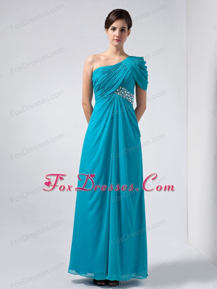 Teal Column One Shoulder Beading Mother Of The Bride Dress