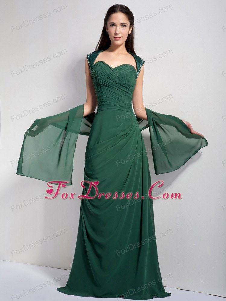 Dark Green Column Sweetheart Chiffon Ruche Evening Dress